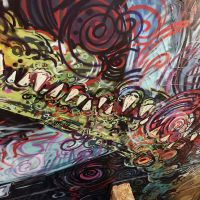 Spray work inside the Oz Bar in Edinburgh, updated 2017.