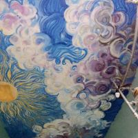 Sprayed ceiling in redesigned Newtongrange Primary School library, 2017.