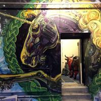 Unicorn spray work at the entrance to our Leith Custom House studio, 2017.