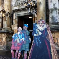 Bonnie Prince Charlie, a Jacobite and Mary, Queen of Scots cut outs in the grounds of Holyrood Palace in Edinburgh.