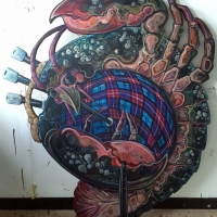 Lobster bagpipes cut-out, commissioned for Glasgow's East End Diner.