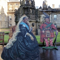 Cut-outs of Queen Victoria and King George IV in the grounds of Holyrood Palace in Edinburgh.