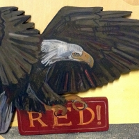 Golden eagle cut-out - private commission for a child's room.