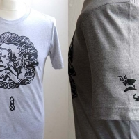 Grey unicorn t-shirt with black design and left sleeve detail
