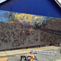 The mural underway in Gala.