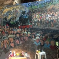 The working mural set up in the Tron Kirk in Edinburgh.
