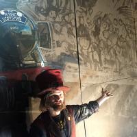 Chris working on the mural in the Tron Kirk in Edinburgh.