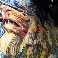 Aslan in the Narnia spray work mural at Leith Custom House, 2017.