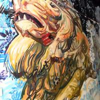 Aslan in the Narnia spray work mural at Leith Custom House, 2017.