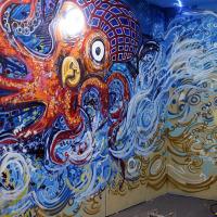 Beach Party spray work mural at Glasgow's Bristol Bar, 2017.