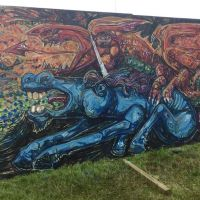 Dragon and a unicorn spray mural live-painted at the 2017 Kelburn Garden Party festival.