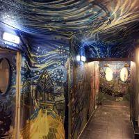Spray work inside The Three Sisters pub in Edinburgh, 2017.