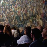 The Hogmanay mural while installed at the Tron Kirk on the Royal Mile in Edinburgh.