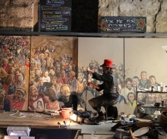 Chris working on the Hogmanay mural inside the Tron Kirk on the Royal Mile in Edinburgh in 2014.