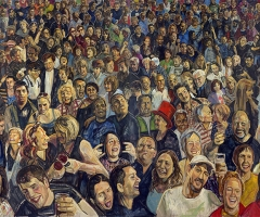 The far left section of the Hogmanay mural.