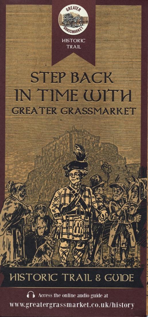 Cover of Edinburgh's Greater Grassmarket Historic Trail leaflet (2015).