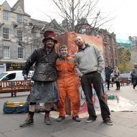 Chris, Elph and Tom of the Too Much Fun Club in the Grassmarket.