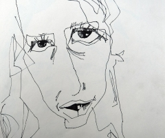 Early pen and ink portrait.