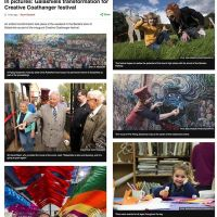 03/10/2016 BBC News: In pictures: Galashiels transformation for Creative Coathanger festival 3 October 2016. An artistic transformation took place at the weekend in the Borders town of Galashiels as part of the inaugural Creative Coathanger festival.