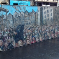 The finished mural onsite in the Grassmarket.