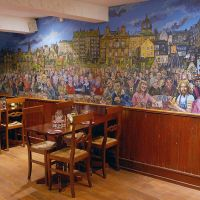 The Scottish nostalgia mural in A Room In The West End restaurant in Edinburgh.
