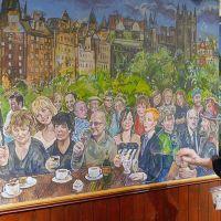 The Scottish nostalgia mural in A Room In The West End restaurant in Edinburgh.