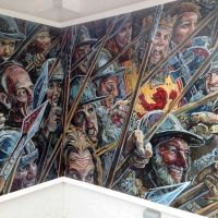 The mural installed at The Battle of Bannockburn Visitor Centre.