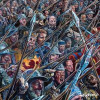 A detail of the Bannockburn mural, featuring Robert the Bruce - available to buy as a print.