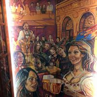 Custom beer hall mural created for Pilsner Urquell's 175th birthday at Brewhemia in Edinburgh.