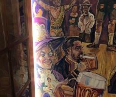 Custom beer hall mural created for Pilsner Urquell's 175th birthday at Brewhemia in Edinburgh.