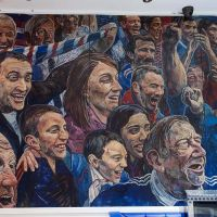 Detail of the Rangers mural.