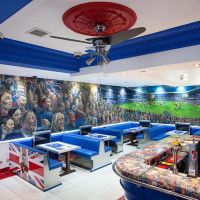 Rangers Football Club themed bar at the Bristol Bar in Glasgow.