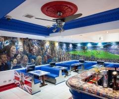 Rangers Football Club themed bar at the Bristol Bar in Glasgow.