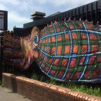 Large cut-out octopus board at Glasgow's East End Diner