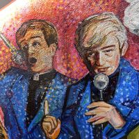 Detail from the Father Ted mural at Malones bar in Edinburgh.