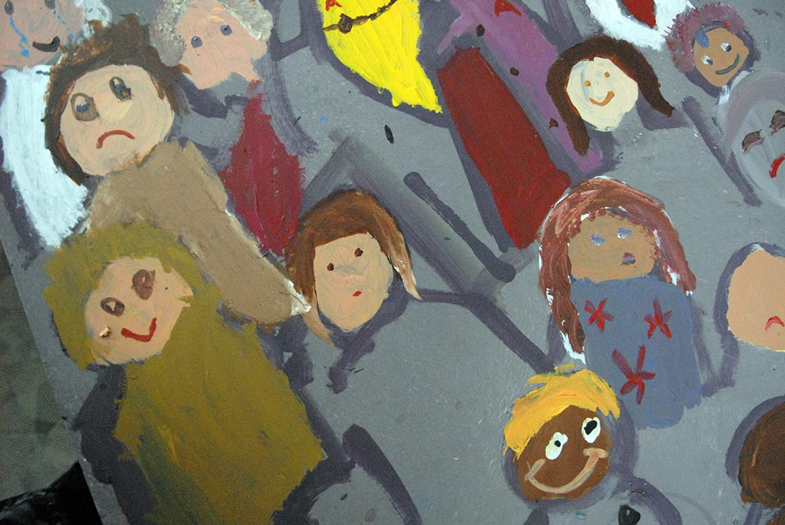 Detail from the evacuees mural.