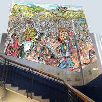The proposed Bannockburn mural superimposed on the stairwell.