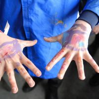Sometimes more paint went on the kids than the boards.
