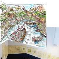 The proposed viking mural design superimposed on the stairwell wall above existing tile artwork.