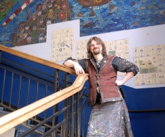 Chris in front of the viking mural.
