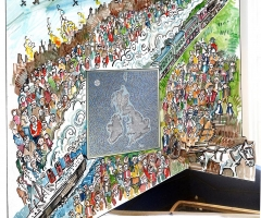 The proposed evacuee mural wraps around an existing mosaic map.