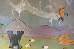 Speeding eagle in the mural.