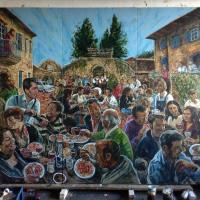 La Favorita al fresco lunch mural in progress.
