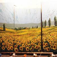 La Favorita sunflower mural in progress.