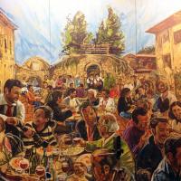 La Favorita al fresco lunch mural after installation.