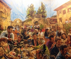 La Favorita al fresco lunch mural after installation.