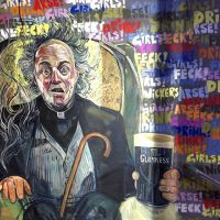 Father Jack portrait featured in the Father Ted mural on the staircase.