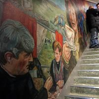 View of the Father Ted mural on the staircase.