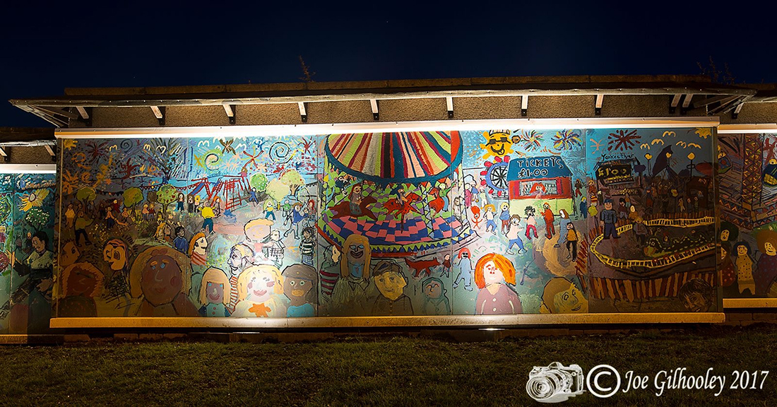 The Mayfield mural in 2017 with new lighting. Photo courtesy Joe Gilhooley.