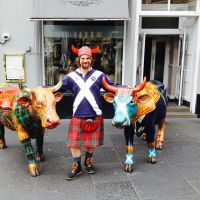 Chris with two of the Kyloe cows